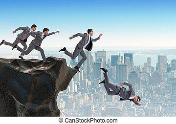 empresarios, caer, el, acantilado