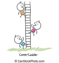 empresarios, carrera, ladder., ilustración, arriba,...