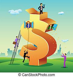 empresarios, con, dólar, edificio