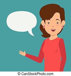 empresarios, con, discurso, burbujas, comunicación