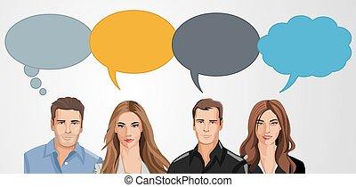 empresarios, con, discurso, globo