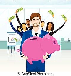 empresarios, dinero, ahorros, cerdito, equipo, puesto,...