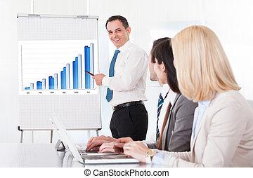 empresarios, discutir, nuevo, proyecto