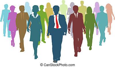 empresarios, diverso, recursos humanos, líder del equipo