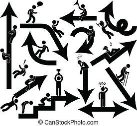 empresarios, emoción, muestra de la flecha