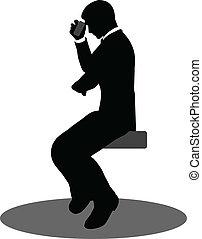 empresarios, en el teléfono, sentado, silueta