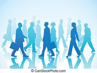 empresarios, en, silueta, walki