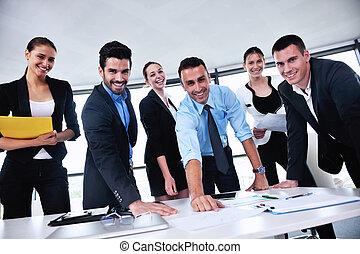 empresarios, en, un, reunión, en, oficina