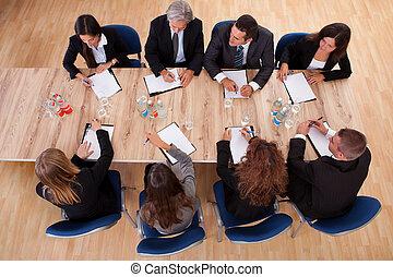 empresarios, en, un, reunión