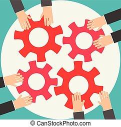 empresarios, engranajes, juntos, unión