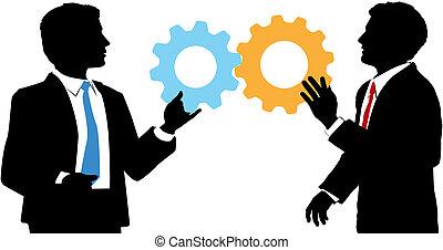 empresarios, ensamblar, tecnología, colaboración, solución