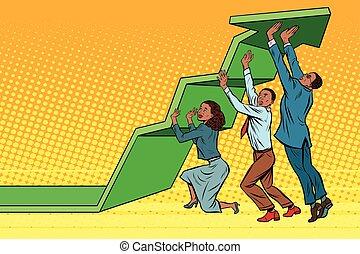 empresarios, equipo, arriba, gráfico, levantamiento, ...