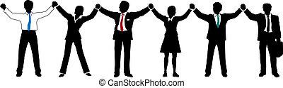 empresarios, equipo, arriba, manos, línea, asimiento