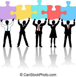 empresarios, equipo, asimiento, rompecabezas, solución