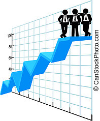 empresarios, equipo, cima, ventas trazan