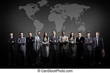 empresarios, equipo, con, mapa del mundo