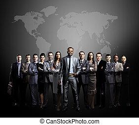 empresarios, equipo, con, mundo ma