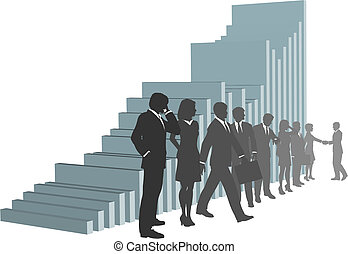 empresarios, equipo, con, tabla de crecimiento