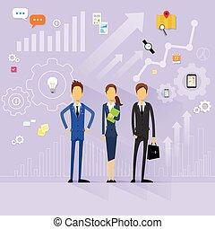 empresarios, equipo, director, recursos humanos, plano, diseño, vector
