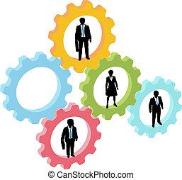 empresarios, equipo, en, tecnología, engranajes