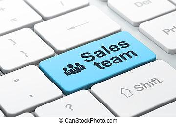 empresarios, equipo marketing, ventas, computadora, plano de fondo, teclado, concept: