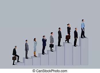 empresarios, equipo, y, diagram., aislado, encima, fondo blanco
