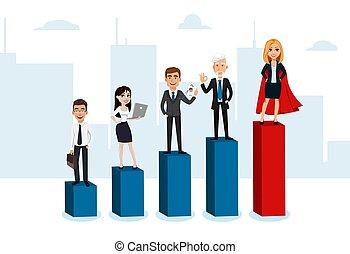 empresarios, escalera carrera, arriba, mudanza