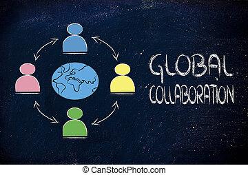 empresarios, globo terráqueo global, comunicación, conectado, a través de