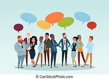 empresarios, grupo, charla, comunicación, burbuja,...