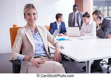 empresarios, grupo, en, oficina