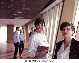 empresarios, grupo, posición, juntos
