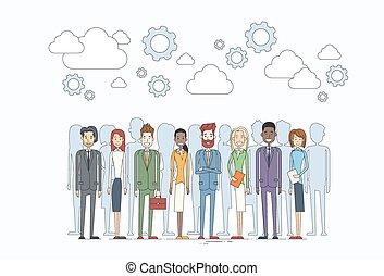 empresarios, grupo, recursos humanos, equipo, diverso