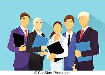 empresarios, grupo, recursos humanos, plano, vector