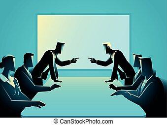 empresarios, habitación, reunión, discusión