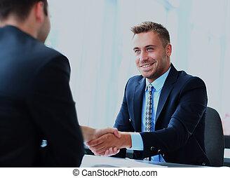 empresarios, manos, arriba, meeting., acabado, sacudida
