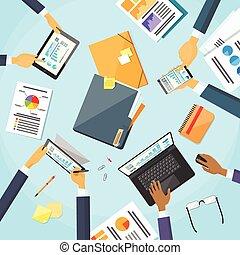 empresarios, manos, escritorio, lugar de trabajo, equipo, trabajando