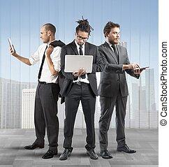 empresarios, muy, ocupado