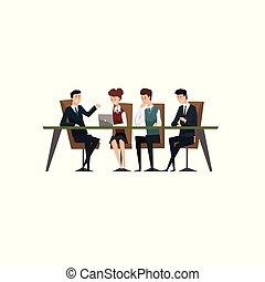 empresarios, oficina, ideas, ilustración, trabajo en equipo...