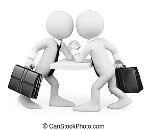 empresarios, personas., lucha, blanco, brazo, 3d