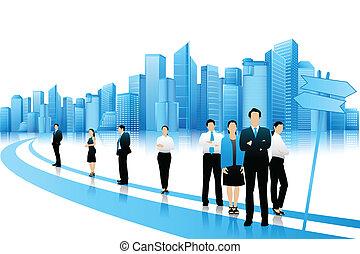 empresarios, posición, en, camino