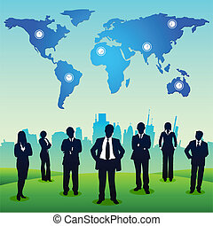 empresarios, posición, en, paisaje urbano