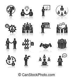empresarios, reunión, iconos, conjunto