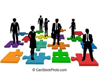 empresarios, rompecabezas, humano, equipo, recursos