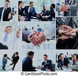 empresarios, sacudida, hands.