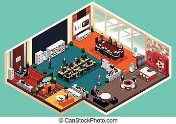 empresarios, trabajando, en, la oficina, en, isométrico, estilo