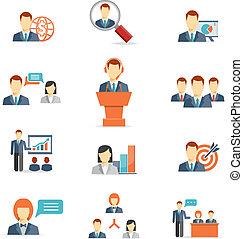 empresarios, vector, iconos