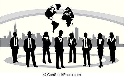 empresarios, vector, ilustración