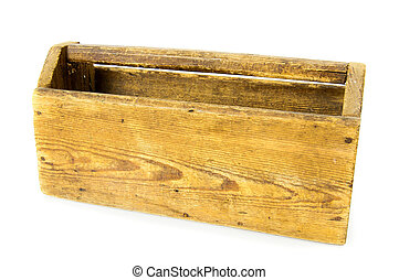 Old wooden box on white background.