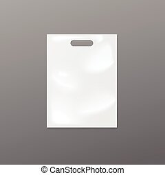 Empty 3D white plastic bag - vector isolated realistic illustration