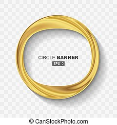 Empty Abstract Golden Shiny Ring Banner with Flat Design Shadow